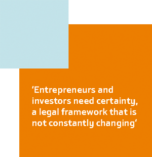 'Entrepreneurs and investors need certainty, a legal framework that is not constantly changing'